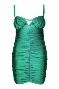 Womens Lace Up Detail All Over Ruched Dress - green - 28, Green