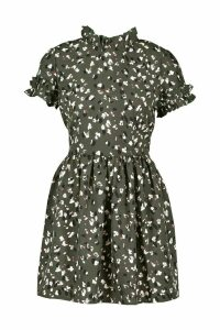 Womens Leopard Print Ruffle Neck Skater Dress - green - 16, Green