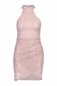 Womens Lace High Neck Ruched Side Bodycon Mini Dress - Pink - 14, Pink