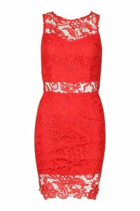 Womens Crochet Lace Mini Dress - red - 14, Red