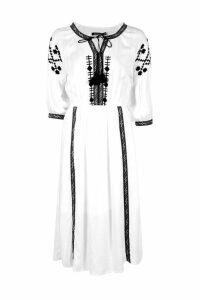 Womens Embroidered Tape Detail Midi Dress - white - 14, White