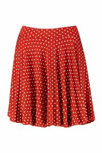 Womens Polka Dot Skater Skirt - orange - 8, Orange
