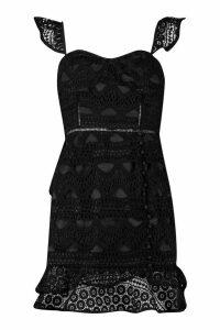 Womens Lace Button Detail Mini Dress - black - 16, Black