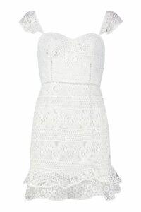 Womens Lace Button Detail Mini Dress - white - 12, White