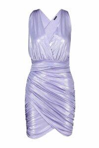 Womens Belted Metallic Bodycon Dress - purple - 14, Purple