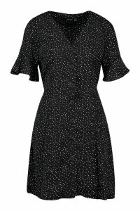 Womens Woven Button Through Flutter Sleeve Shift Dress - black - 14, Black