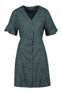 Womens Woven Button Through Flutter Sleeve Shift Dress - green - 8, Green