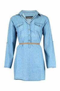 Womens Denim Belted Button Front Shirt Dress - blue - M, Blue