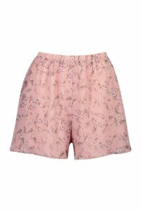 Womens Floral Chiffon Flippy Shorts - Pink - 12, Pink