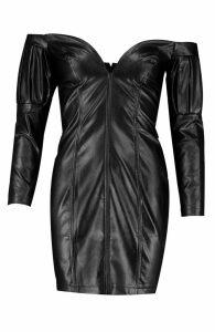 Womens Faux Leather Statement Sleeve Mini Dress - black - 12, Black