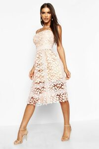 Womens Corded Lace Detail Midi Skater Dress - pink - 14, Pink