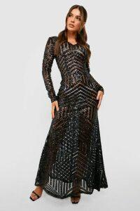Womens Boutique Sequin & Mesh Maxi Dress - black - 16, Black