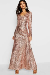 Womens Boutique Sequin & Mesh Maxi Dress - Beige - 16, Beige