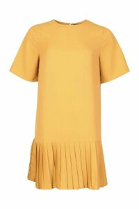 Womens Pleated Hem Shift Dress - yellow - 12, Yellow