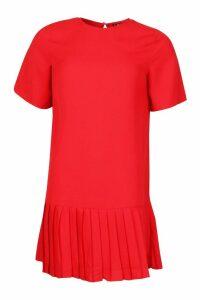Womens Pleated Hem Shift Dress - red - 12, Red