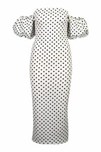Womens Polka Dot Volume Sleeve Midi Dress - white - 10, White