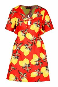 Womens Woven Tie Front Low Back Tea Dress - red - 12, Red