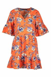 Womens Woven Floral Tiered Ruffle Sleeve Smock Dress - orange - 10, Orange