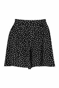 Womens Polka Dot Flippy Short - black - 16, Black