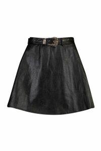 Womens Western Buckle Belted Leather Look Skater Skirt - black - 16, Black