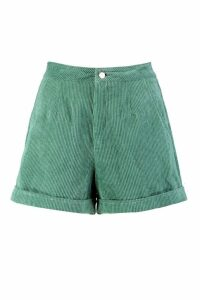 Womens Cord Tailored Contrast Stitch Short - green - 10, Green
