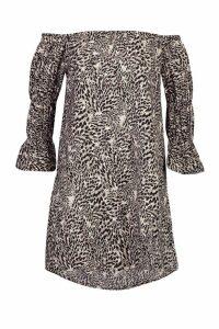 Womens Woven Leopard Bardot Sheered Sleeve Shift Dress - black - 8, Black