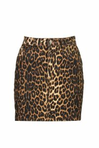 Womens High Waisted Leopard Denim Mini Skirt - brown - 16, Brown