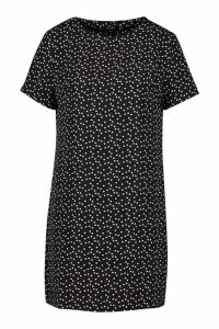 Womens Heart Print Shift Dress - black - 14, Black