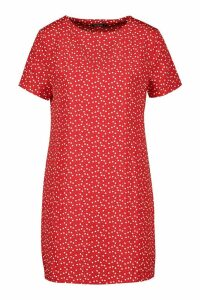 Womens Heart Print Shift Dress - red - 14, Red