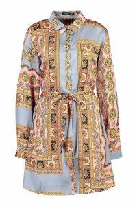Womens Paisley Print Shirt Dress - grey - 16, Grey