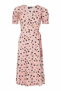 Womens Abstract Dalmation Print Button Midi Dress - pink - 14, Pink