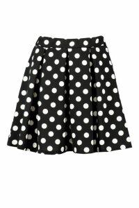 Womens Polka Dot Box Pleat Skater Skirt - black - 14, Black