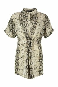 Womens Snake Print Short Sleeve Drawstring Shirt Dress - brown - 12, Brown