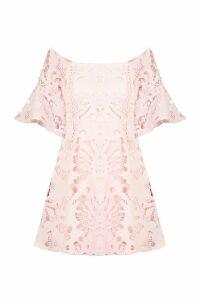 Womens All Over Crochet Skater Dress - pink - 14, Pink