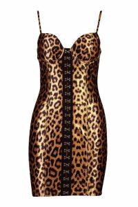 Womens Stretch Satin Leopard Hook & Eye Mini Dress - multi - 12, Multi
