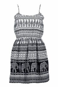 Womens Elephant Strappy Skater Dress - multi - 14, Multi