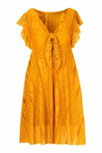 Womens Tie Front Skater Dress - yellow - M, Yellow
