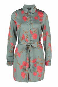 Womens Floral Belt Shirt Dress - green - 14, Green