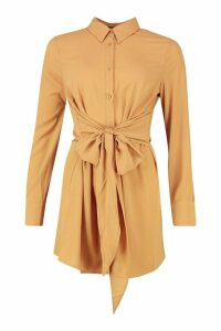 Womens Tie Detail Shirt Dress - Brown - 14, Brown