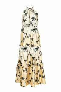 Womens Palm Print High Neck Column Maxi Dress - brown - 12, Brown