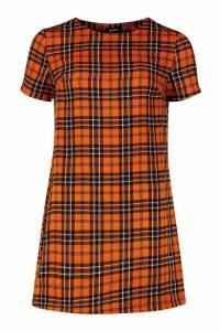 Womens Check Print Shift Dress - orange - 16, Orange