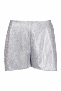 Womens Glitter Flippy Hem Shorts - grey - 14, Grey