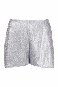 Womens Glitter Flippy Hem Shorts - grey - 10, Grey
