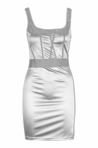 Womens Square Neck Reflective Panel Mini Dress - grey - 14, Grey