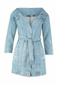 Womens Acid Wash Off The Shoulder Belted Denim Dress - Blue - 14, Blue