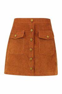 Womens Chunky Cord Pocket Front Mini Skirt - brown - 8, Brown
