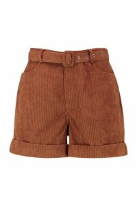 Womens Chunky Cord Belted Turn Up Shorts - brown - 16, Brown