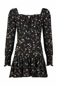 Womens Peasant Style Ditsy Floral Mini Dress - black - 16, Black
