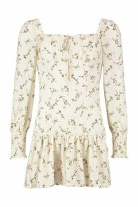 Womens Peasant Style Ditsy Floral Mini Dress - white - 8, White