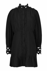 Womens High Neck Crochet Shirt Dress - black - 12, Black